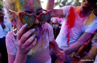 Participants celebrate Color Festival in Yangon, Myanmar