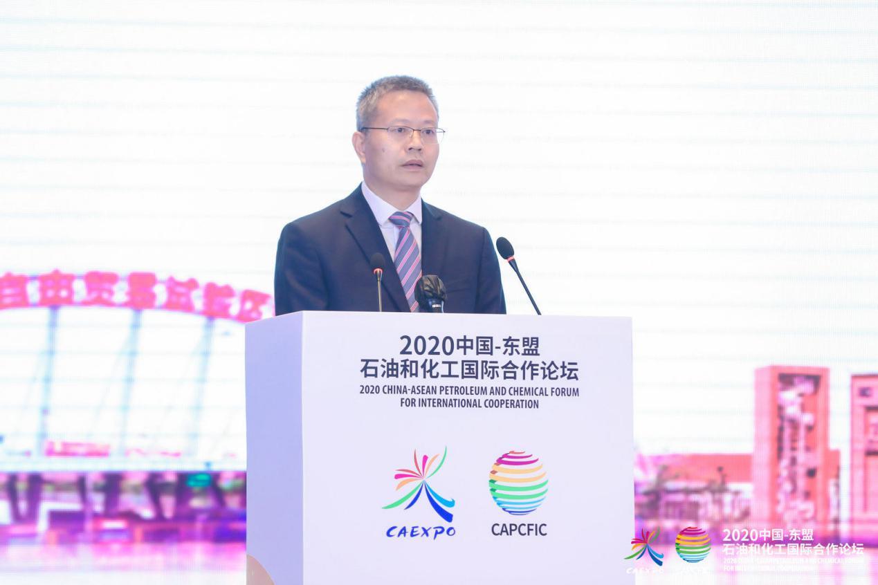说明: 钦州市市长谭丕创在2020中国—东盟石油和化工国际合作论坛上演讲