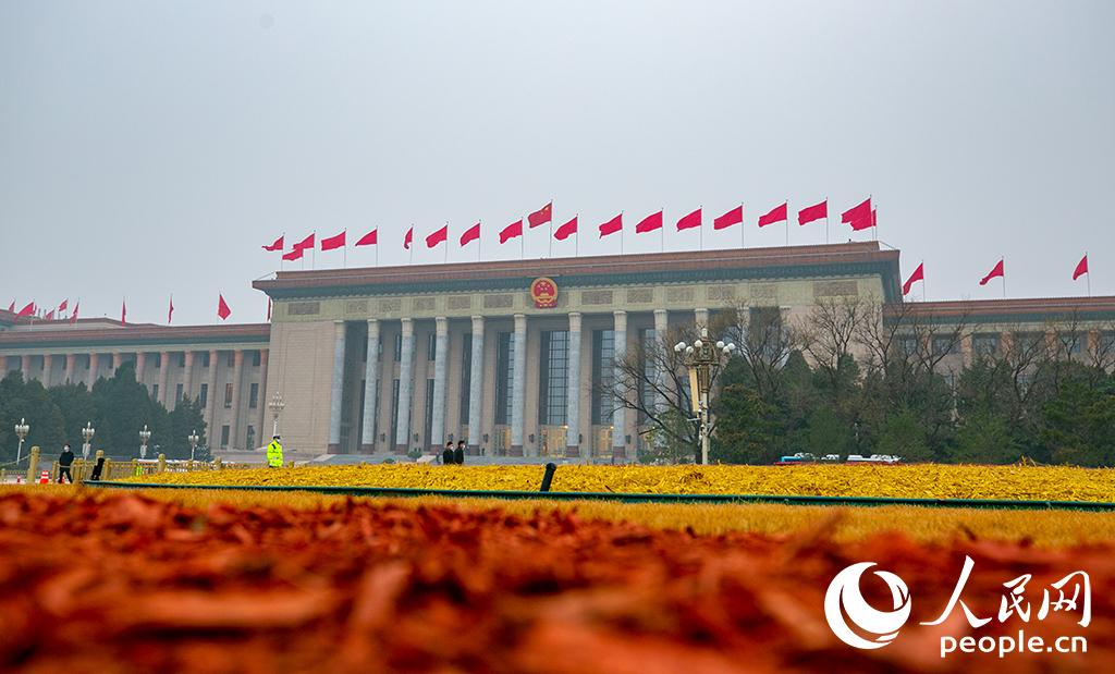 说明: 人民大会堂外景。人民网记者 张武军摄