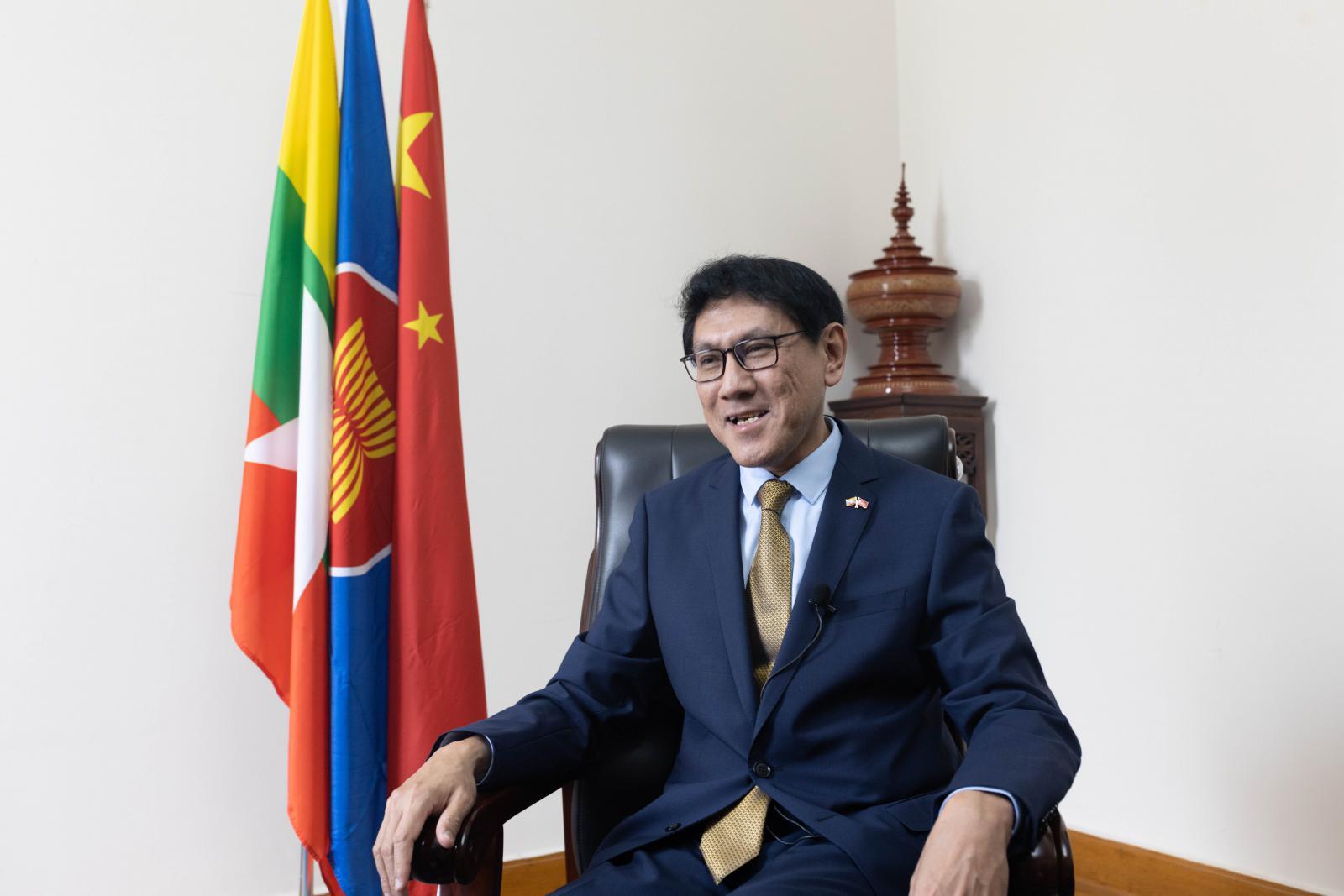 缅甸联邦共和国驻华大使苗丹佩(摄影 陈宇)